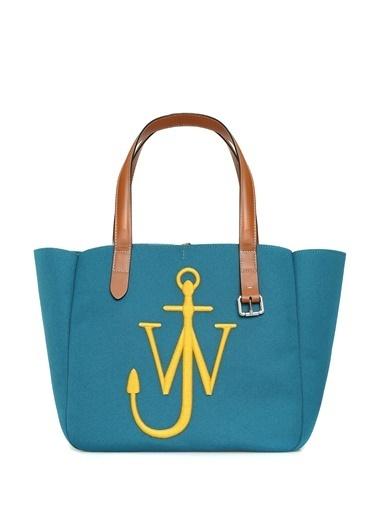Jw Anderson Jw Anderson  Logo Nakışlı Kadın Omuz Çantası 101627767 Mavi